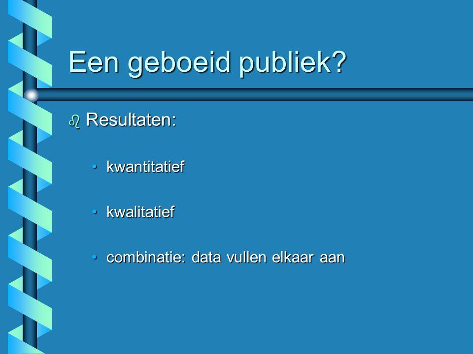 Een geboeid publiek? b Resultaten: kwantitatiefkwantitatief kwalitatiefkwalitatief combinatie: data vullen elkaar aancombinatie: data vullen elkaar aa