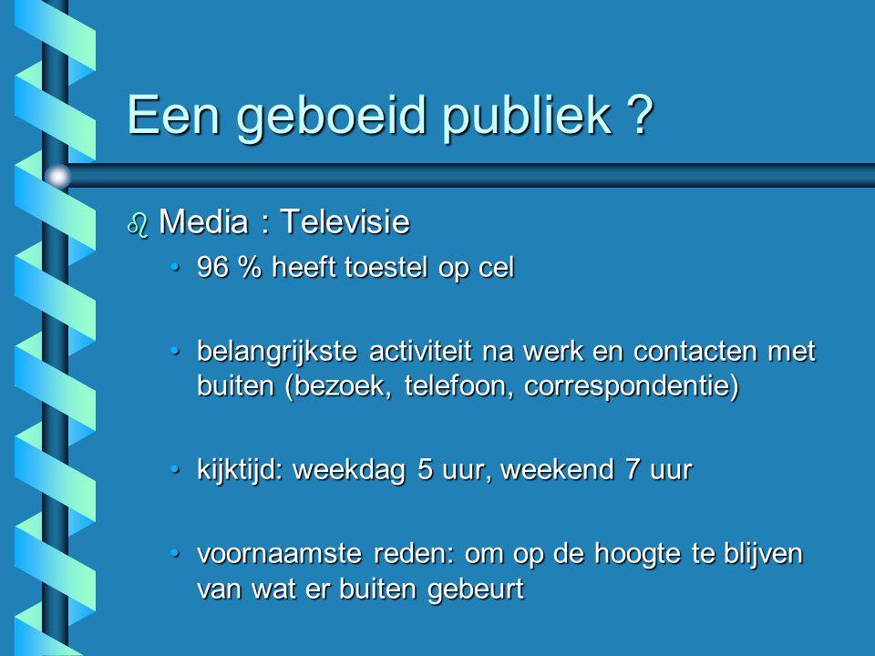 Een geboeid publiek ? b Media : Televisie 96 % heeft toestel op cel96 % heeft toestel op cel belangrijkste activiteit na werk en contacten met buiten