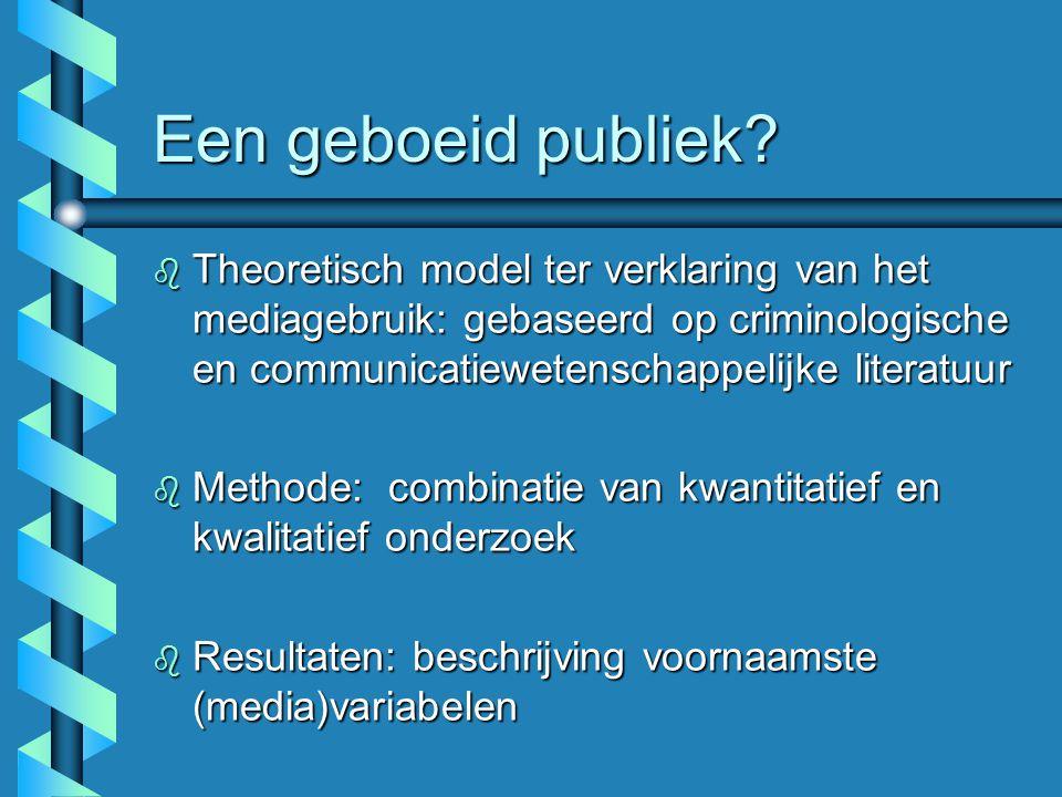 Een geboeid publiek? b Theoretisch model ter verklaring van het mediagebruik: gebaseerd op criminologische en communicatiewetenschappelijke literatuur