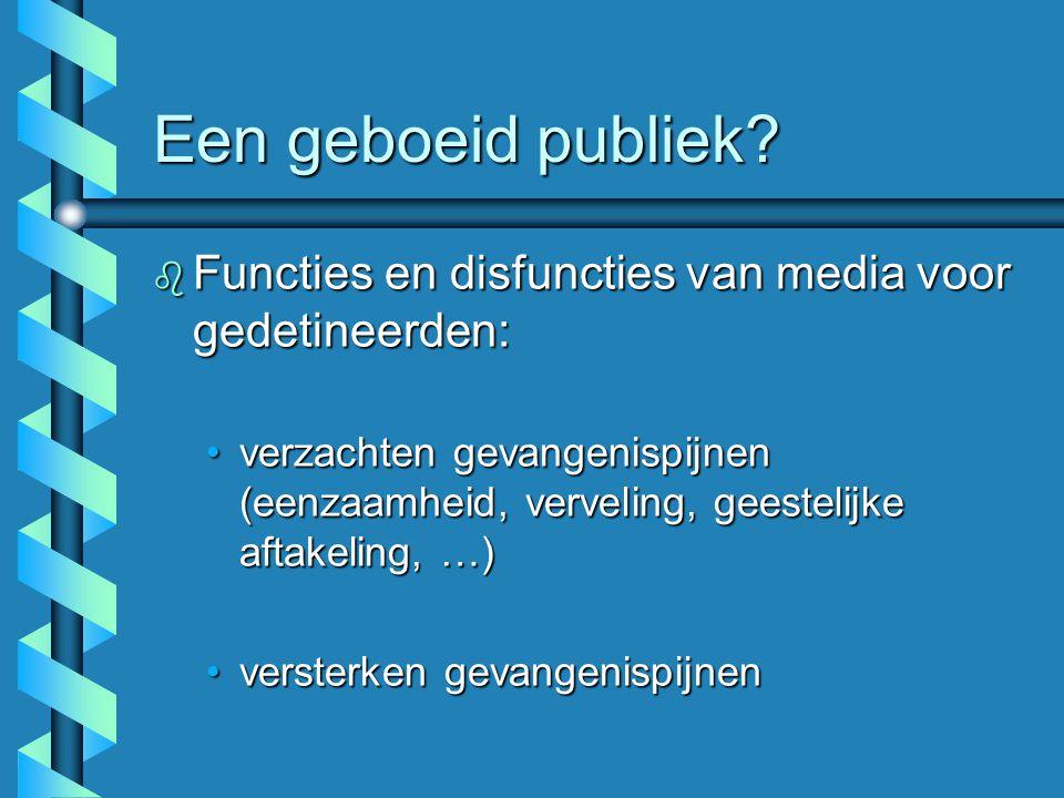Een geboeid publiek? b Functies en disfuncties van media voor gedetineerden: verzachten gevangenispijnen (eenzaamheid, verveling, geestelijke aftakeli