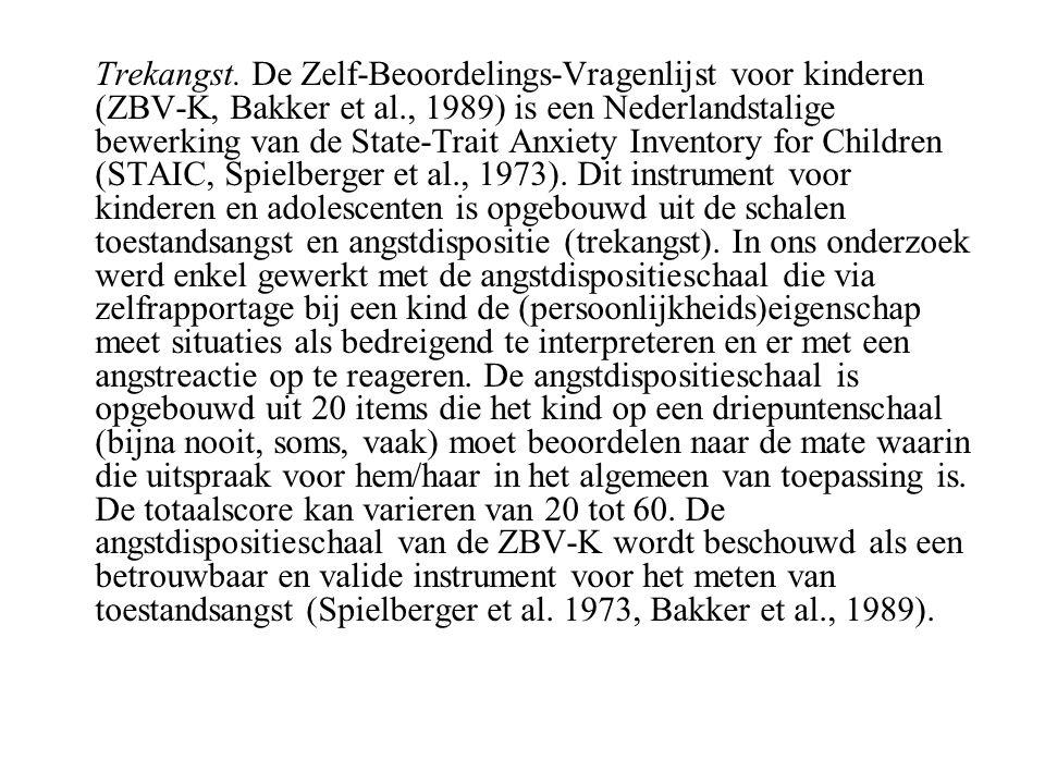 Trekangst. De Zelf-Beoordelings-Vragenlijst voor kinderen (ZBV-K, Bakker et al., 1989) is een Nederlandstalige bewerking van de State-Trait Anxiety In