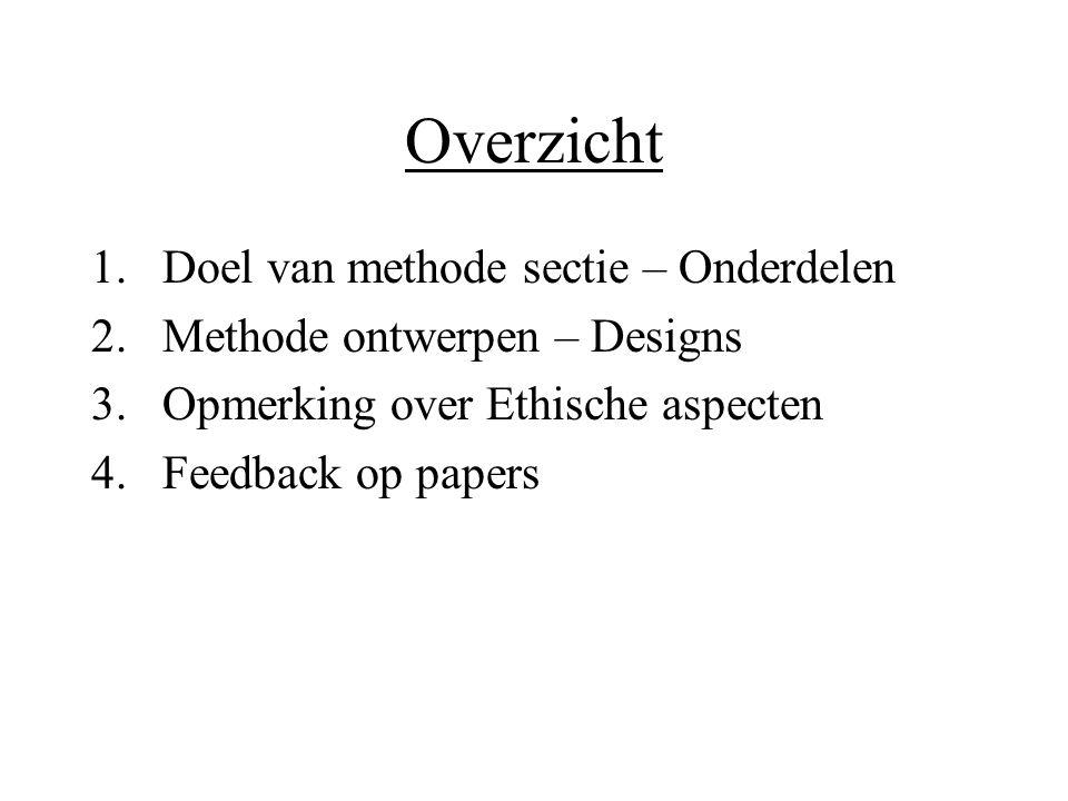 Overzicht 1.Doel van methode sectie – Onderdelen 2.Methode ontwerpen – Designs 3.Opmerking over Ethische aspecten 4.Feedback op papers