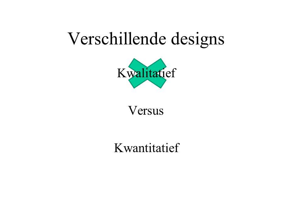 Verschillende designs Kwalitatief Versus Kwantitatief