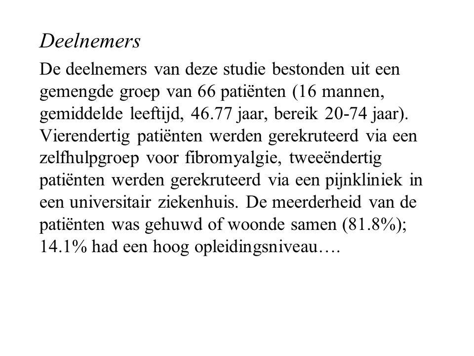 Deelnemers De deelnemers van deze studie bestonden uit een gemengde groep van 66 patiënten (16 mannen, gemiddelde leeftijd, 46.77 jaar, bereik 20-74 j