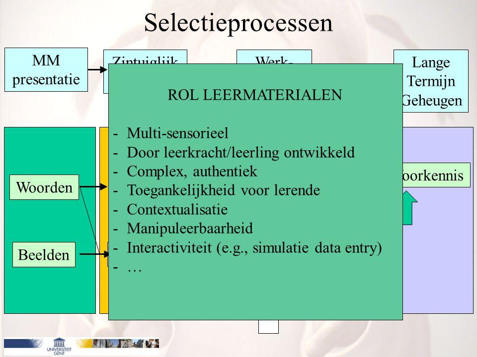 MM presentatie Zintuiglijk Geheugen Werk- Geheugen Lange Termijn Geheugen Woorden Beelden Gehoor Gezicht Geluid Beeld Verbaal Model Visueel Model Voorkennis Integratie Organisatie Selectieprocessen ROL LEERMATERIALEN -Mogelijkheid tot (her)selecteren -Mogelijkheid tot herlezen -Mogelijkheid tot bekijken multipele representaties -Navigatiemogelijkheden (ook in audio, video, animaties, …) -Controle door lerende -…