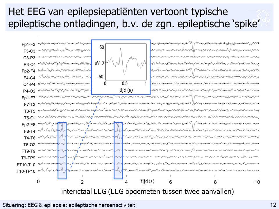 12 Het EEG van epilepsiepatiënten vertoont typische epileptische ontladingen, b.v.
