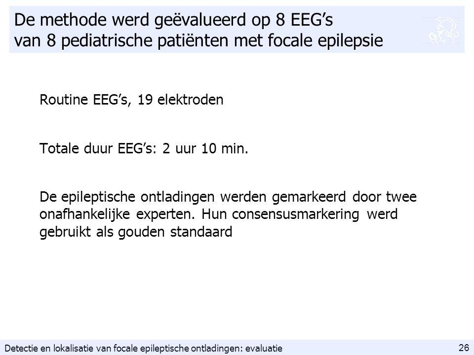 26 De methode werd geëvalueerd op 8 EEG's van 8 pediatrische patiënten met focale epilepsie Routine EEG's, 19 elektroden Totale duur EEG's: 2 uur 10 min.