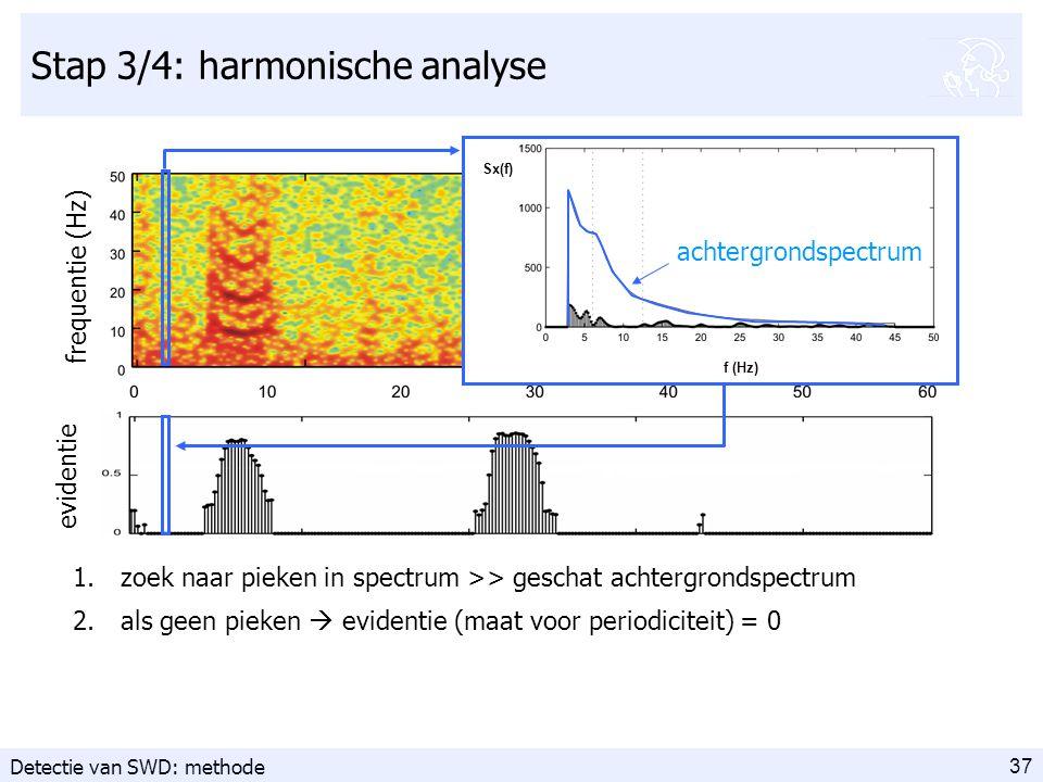 37 Stap 3/4: harmonische analyse frequentie (Hz) 1.zoek naar pieken in spectrum >> geschat achtergrondspectrum 2.als geen pieken  evidentie (maat voor periodiciteit) = 0 evidentie Sx(f) f (Hz) Sx(f) f (Hz) achtergrondspectrum Detectie van SWD: methode