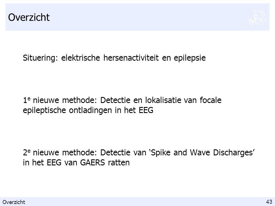 43 Overzicht Situering: elektrische hersenactiviteit en epilepsie 1 e nieuwe methode: Detectie en lokalisatie van focale epileptische ontladingen in het EEG 2 e nieuwe methode: Detectie van 'Spike and Wave Discharges' in het EEG van GAERS ratten Overzicht