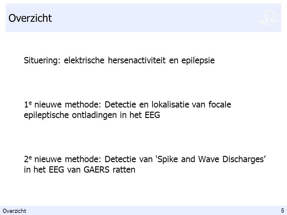 5 Overzicht Situering: elektrische hersenactiviteit en epilepsie 1 e nieuwe methode: Detectie en lokalisatie van focale epileptische ontladingen in het EEG 2 e nieuwe methode: Detectie van 'Spike and Wave Discharges' in het EEG van GAERS ratten Overzicht