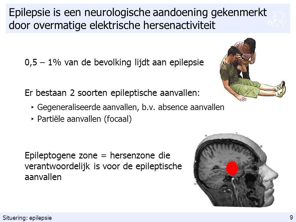 9 Epilepsie is een neurologische aandoening gekenmerkt door overmatige elektrische hersenactiviteit 0,5 – 1% van de bevolking lijdt aan epilepsie Er bestaan 2 soorten epileptische aanvallen: ‣ Gegeneraliseerde aanvallen, b.v.