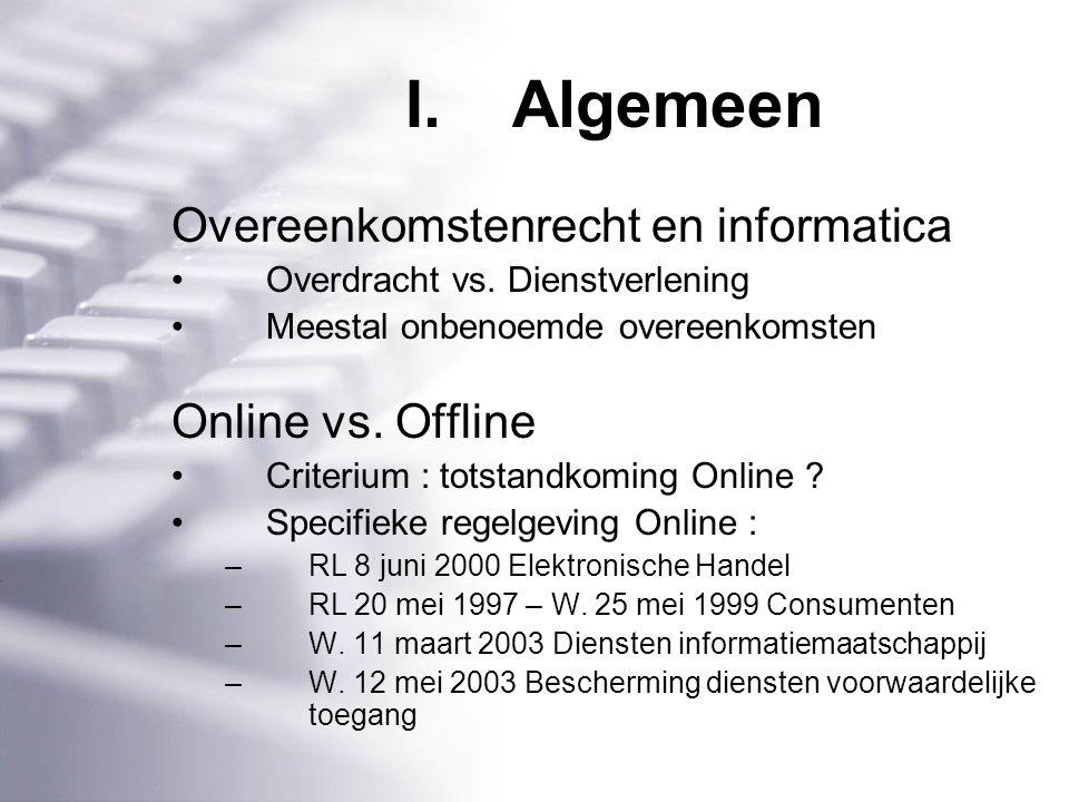 I.Algemeen Overeenkomstenrecht en informatica Overdracht vs.
