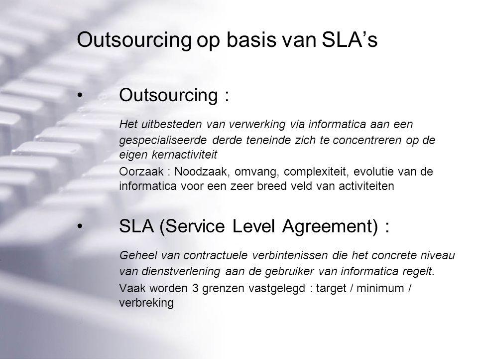 Outsourcing op basis van SLA's Outsourcing : Het uitbesteden van verwerking via informatica aan een gespecialiseerde derde teneinde zich te concentreren op de eigen kernactiviteit Oorzaak : Noodzaak, omvang, complexiteit, evolutie van de informatica voor een zeer breed veld van activiteiten SLA (Service Level Agreement) : Geheel van contractuele verbintenissen die het concrete niveau van dienstverlening aan de gebruiker van informatica regelt.