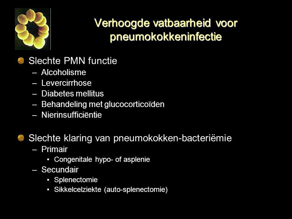 Verhoogde vatbaarheid voor pneumokokkeninfectie Slechte PMN functie –Alcoholisme –Levercirrhose –Diabetes mellitus –Behandeling met glucocorticoïden –