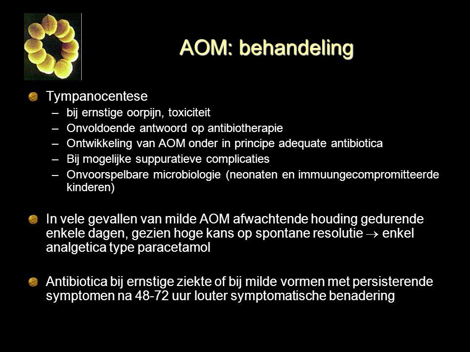 AOM: behandeling Tympanocentese –bij ernstige oorpijn, toxiciteit –Onvoldoende antwoord op antibiotherapie –Ontwikkeling van AOM onder in principe ade