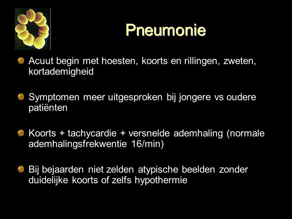 Pneumonie Acuut begin met hoesten, koorts en rillingen, zweten, kortademigheid Symptomen meer uitgesproken bij jongere vs oudere patiënten Koorts + ta
