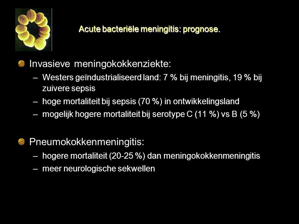 Acute bacteriële meningitis: prognose. Invasieve meningokokkenziekte: –Westers geïndustrialiseerd land: 7 % bij meningitis, 19 % bij zuivere sepsis –h