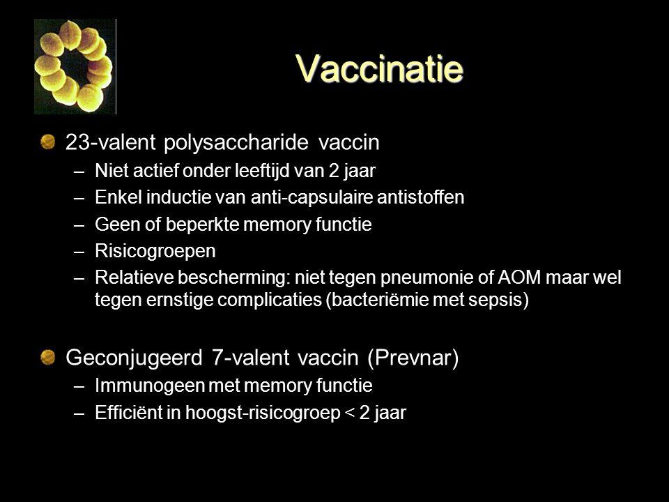 Vaccinatie 23-valent polysaccharide vaccin –Niet actief onder leeftijd van 2 jaar –Enkel inductie van anti-capsulaire antistoffen –Geen of beperkte me