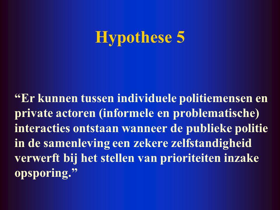 """Hypothese 4 """"Het ontstaan van een gemeenschappelijke politiecultuur werkt publiek-private interacties en daarmee de vervlechting van het algemene en h"""