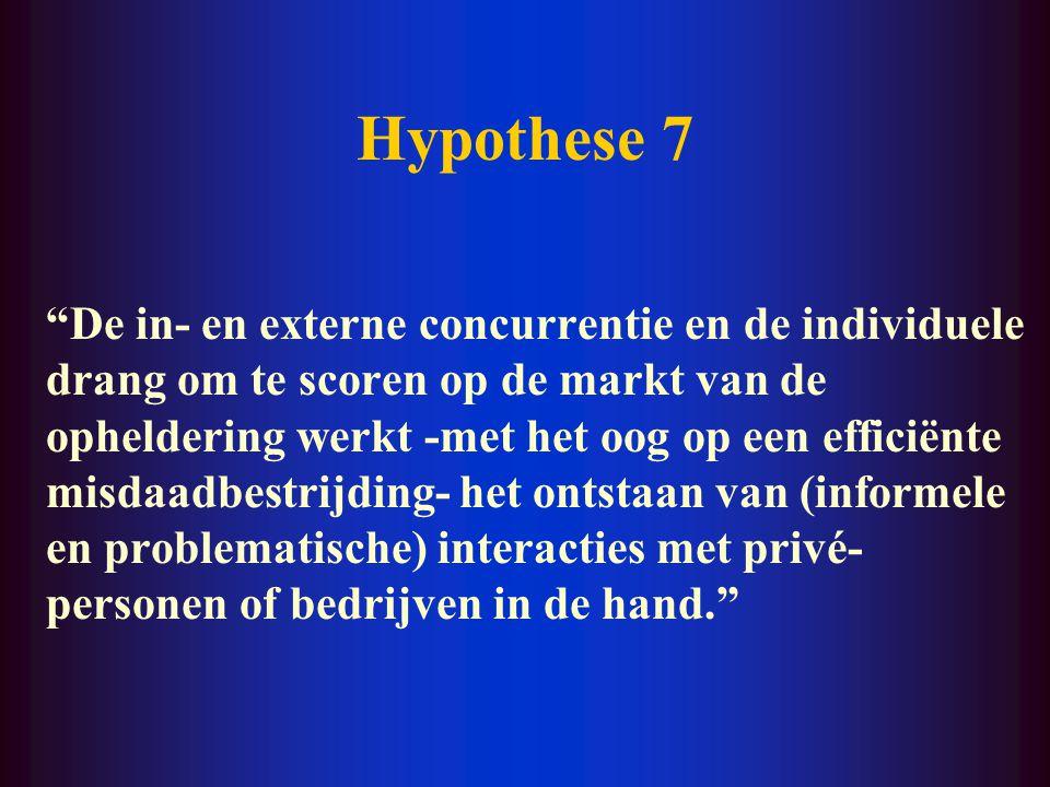 """Hypothese 6 """"Er kunnen tussen individuele politiemensen en private actoren (informele en problematische) interacties ontstaan wanneer de controle van"""