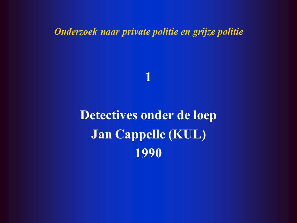 I. Onderzoek naar private politie in België: overzicht