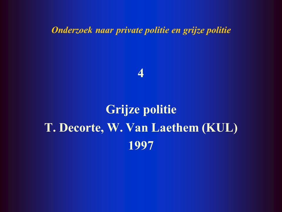 Onderzoek naar private politie en grijze politie 3 Private politiezorg en grondrechten W. Van Laethem, T. Decorte, R. Bas (KUL) 1995
