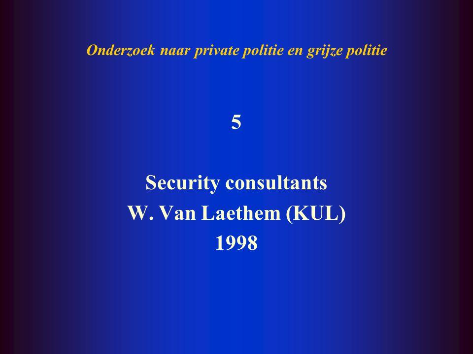 Onderzoek naar private politie en grijze politie 4 Grijze politie T. Decorte, W. Van Laethem (KUL) 1997