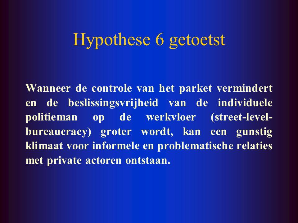 Hypothese 5 getoetst Onze bevindingen lijken dus de stelling te bevestigen dat (informele en problematische) interacties tussen individuele politiemen