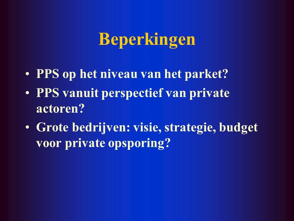 Beperkingen Geformaliseerde samenwerking? PPS inzake bewaking? PPS met bijzondere opsporingsdiensten en inlichtingendiensten? Informele gewoonten? Eva