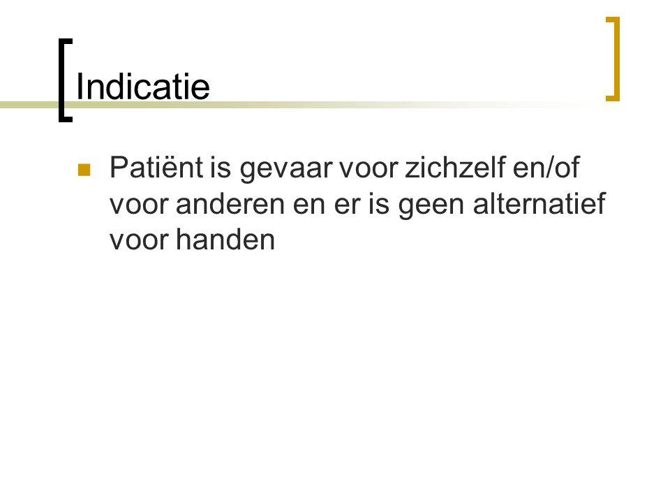 Indicatie Patiënt is gevaar voor zichzelf en/of voor anderen en er is geen alternatief voor handen