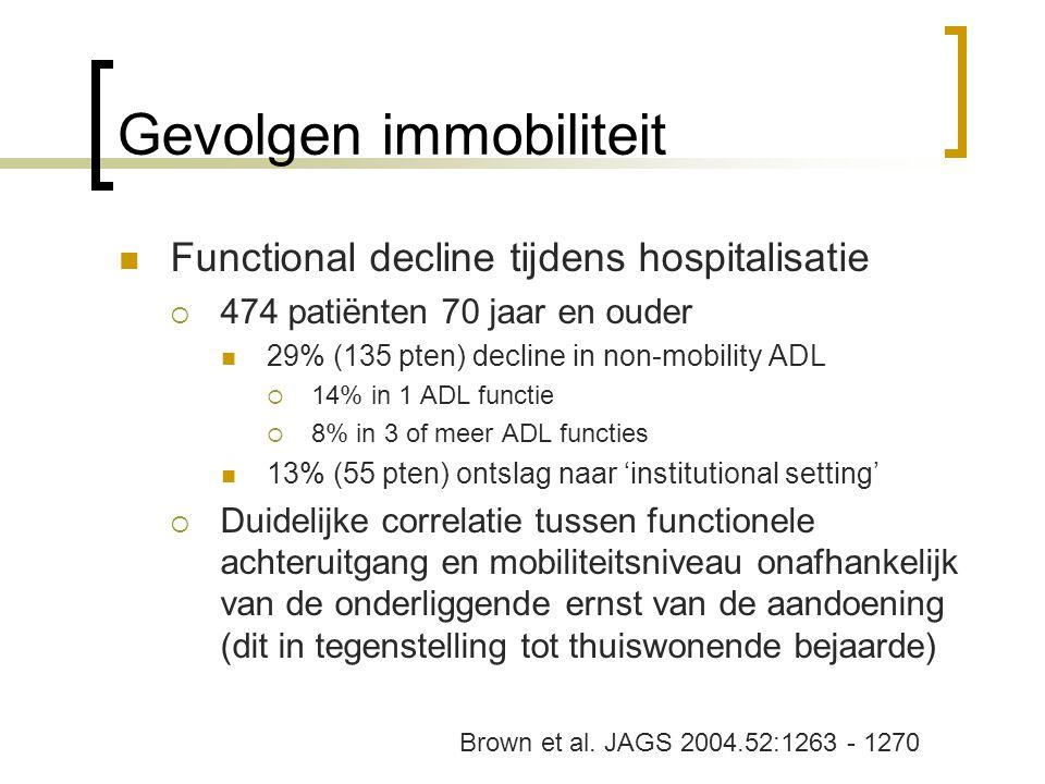 Gevolgen immobiliteit Functional decline tijdens hospitalisatie  474 patiënten 70 jaar en ouder 29% (135 pten) decline in non-mobility ADL  14% in 1