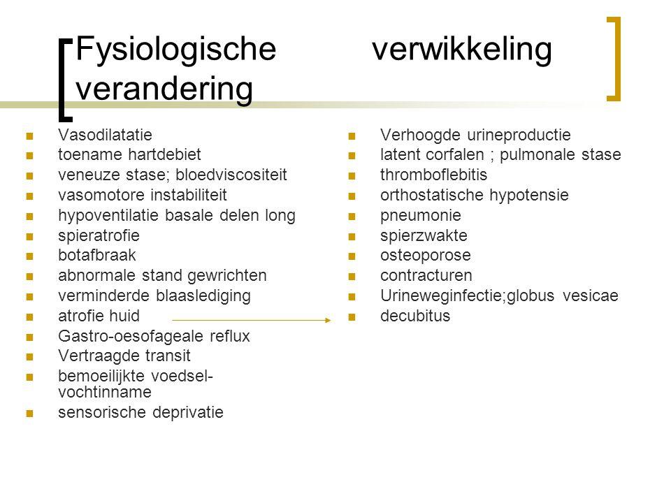 Fysiologische verwikkeling verandering Vasodilatatie toename hartdebiet veneuze stase; bloedviscositeit vasomotore instabiliteit hypoventilatie basale