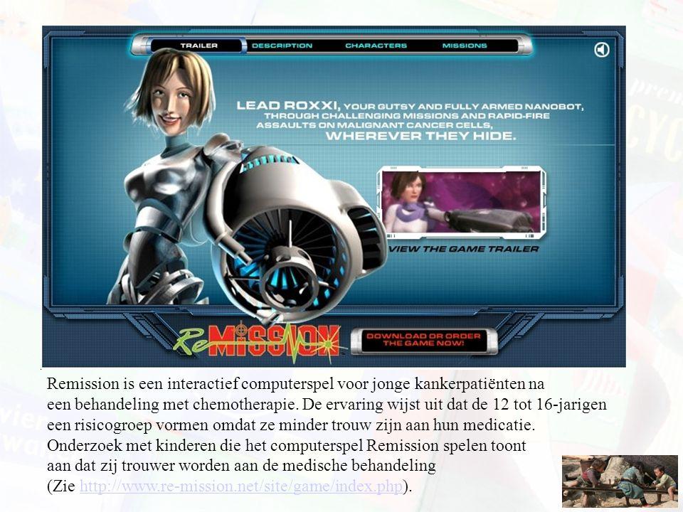 Remission is een interactief computerspel voor jonge kankerpatiënten na een behandeling met chemotherapie. De ervaring wijst uit dat de 12 tot 16-jari