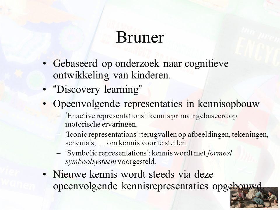 """Bruner Gebaseerd op onderzoek naar cognitieve ontwikkeling van kinderen. """"Discovery learning"""" Opeenvolgende representaties in kennisopbouw –'Enactive"""