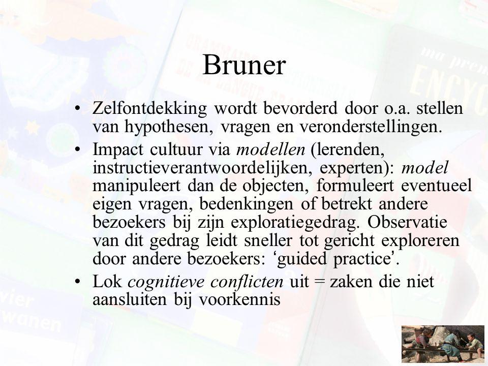 Bruner Zelfontdekking wordt bevorderd door o.a. stellen van hypothesen, vragen en veronderstellingen. Impact cultuur via modellen (lerenden, instructi