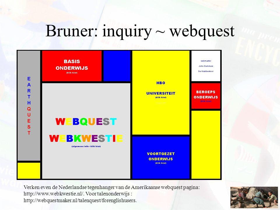 Bruner: inquiry ~ webquest Verken even de Nederlandse tegenhanger van de Amerikaanse webquest pagina: http://www.webkwestie.nl/. Voor talenonderwijs :