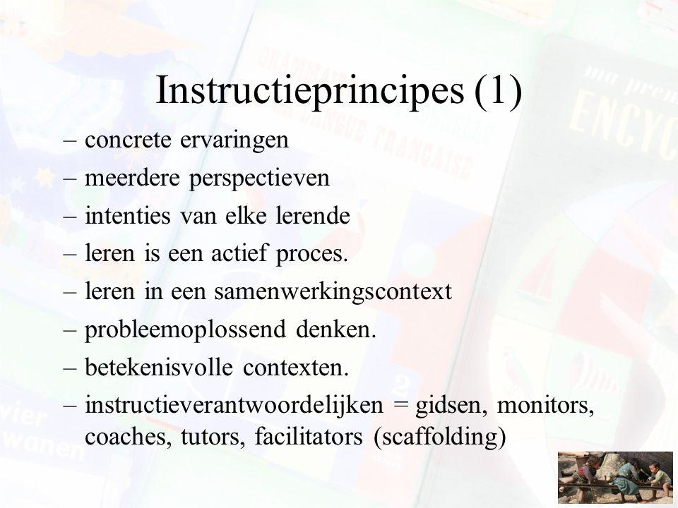 Instructieprincipes (1) –concrete ervaringen –meerdere perspectieven –intenties van elke lerende –leren is een actief proces. –leren in een samenwerki