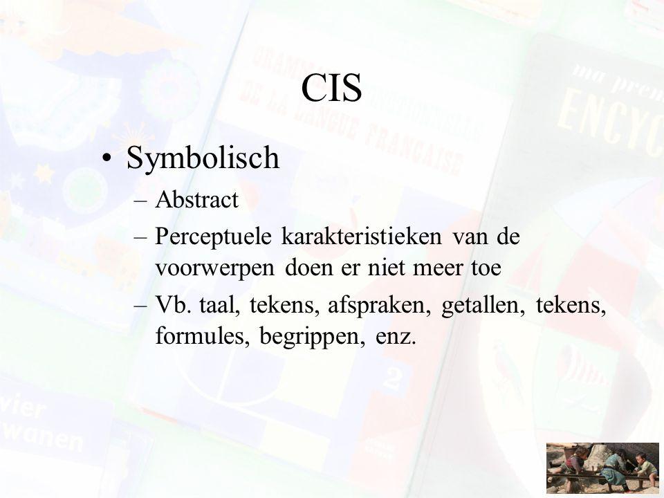CIS Symbolisch –Abstract –Perceptuele karakteristieken van de voorwerpen doen er niet meer toe –Vb. taal, tekens, afspraken, getallen, tekens, formule