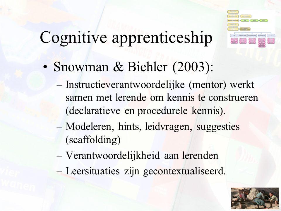 Cognitive apprenticeship Snowman & Biehler (2003): –Instructieverantwoordelijke (mentor) werkt samen met lerende om kennis te construeren (declaratiev