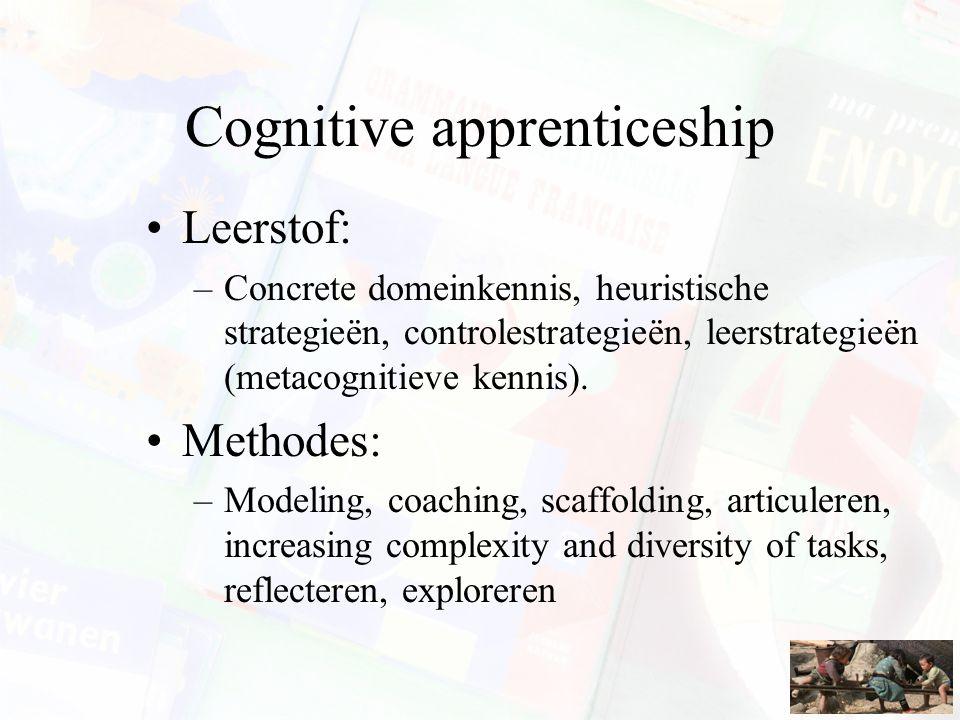 Cognitive apprenticeship Leerstof: –Concrete domeinkennis, heuristische strategieën, controlestrategieën, leerstrategieën (metacognitieve kennis). Met