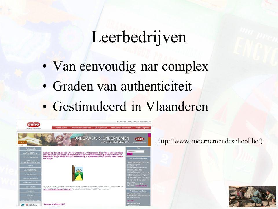 Van eenvoudig nar complex Graden van authenticiteit Gestimuleerd in Vlaanderen http://www.ondernemendeschool.be/).