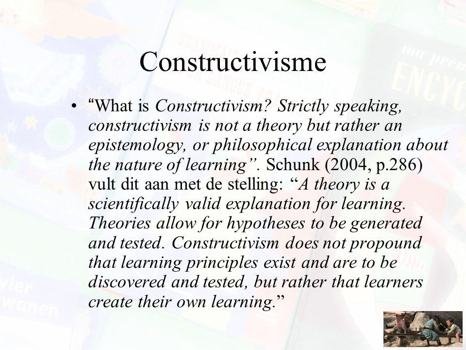 Basisassumpties Elke lerende brengt bij een leerproces eigen kennis in, die gebaseerd is op eerdere leerprocessen en bepaalt hoe en wat verder wordt geleerd.