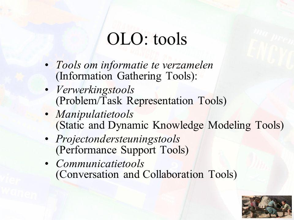 OLO: tools Tools om informatie te verzamelen (Information Gathering Tools): Verwerkingstools (Problem/Task Representation Tools) Manipulatietools (Sta