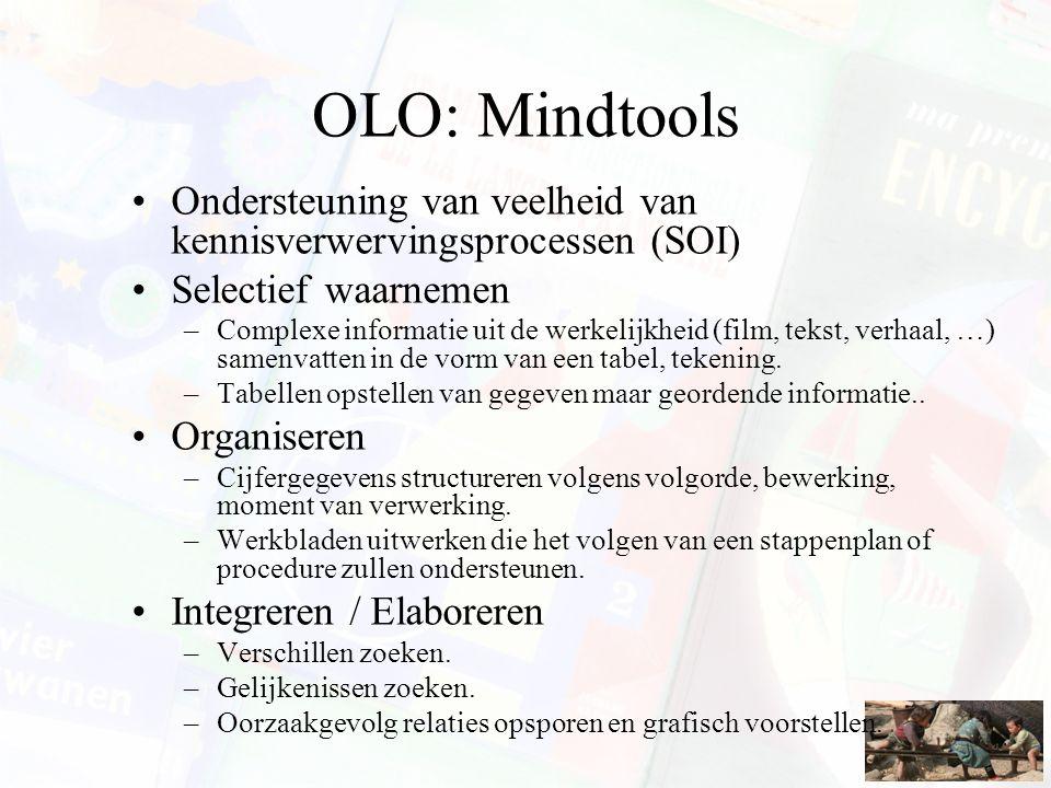 OLO: Mindtools Ondersteuning van veelheid van kennisverwervingsprocessen (SOI) Selectief waarnemen –Complexe informatie uit de werkelijkheid (film, te