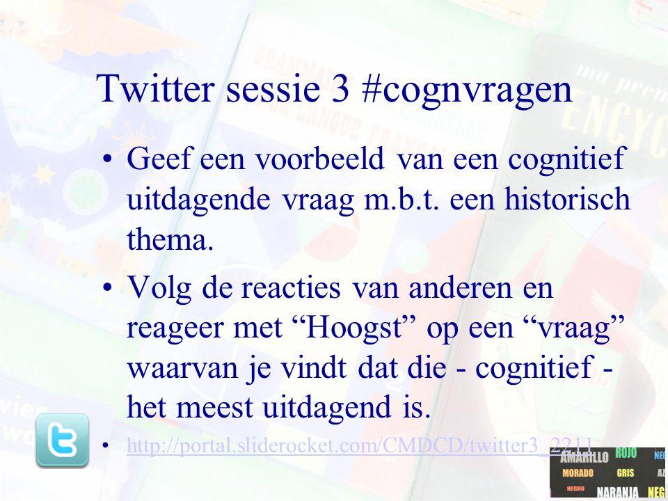 Twitter sessie 3 #cognvragen Geef een voorbeeld van een cognitief uitdagende vraag m.b.t.
