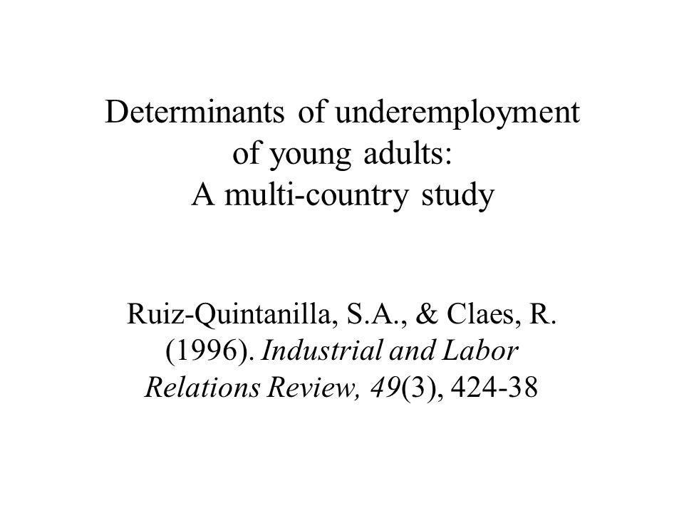 Determinants underemployment Inleiding Omvang en gevolgen underemployment Research hypothesen Methode Resultaten Conclusies