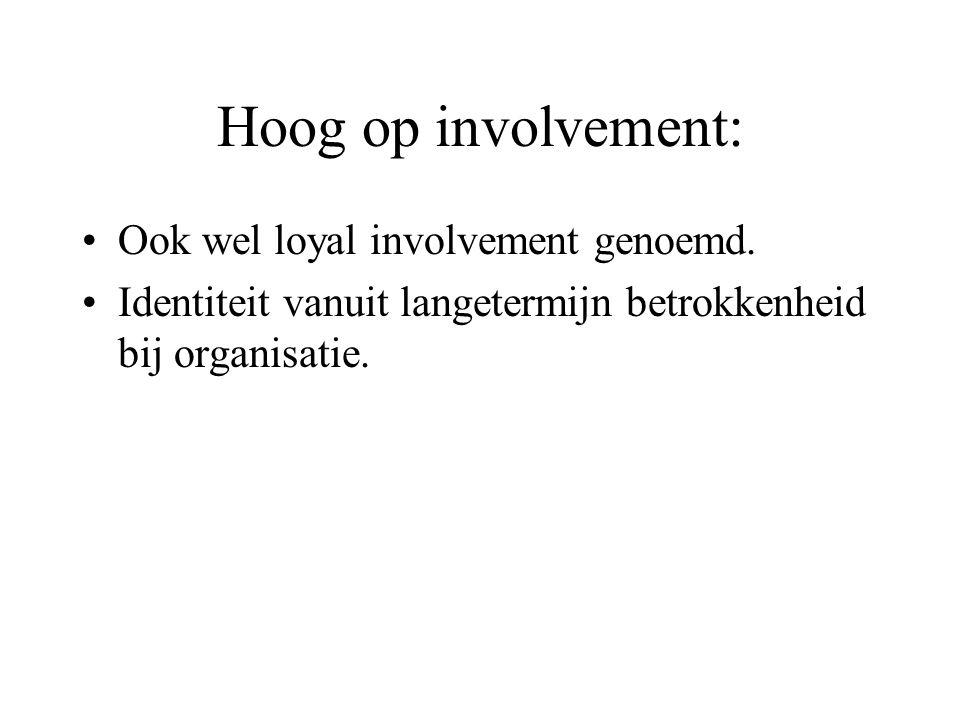 Hoog op involvement: Ook wel loyal involvement genoemd.