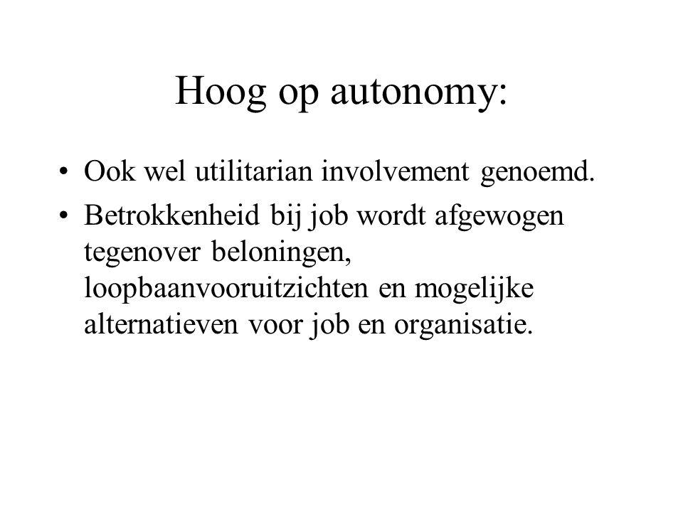 Hoog op autonomy: Ook wel utilitarian involvement genoemd.