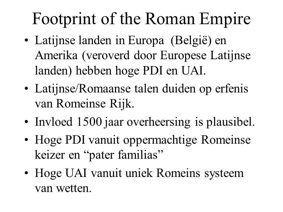 Footprint of the Roman Empire Latijnse landen in Europa (België) en Amerika (veroverd door Europese Latijnse landen) hebben hoge PDI en UAI.