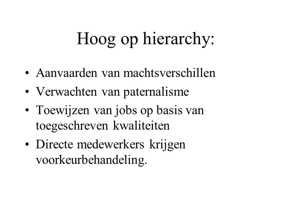 Hoog op hierarchy: Aanvaarden van machtsverschillen Verwachten van paternalisme Toewijzen van jobs op basis van toegeschreven kwaliteiten Directe medewerkers krijgen voorkeurbehandeling.